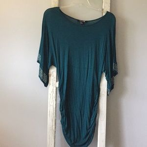 Forever 21 Teal Ruched Dress/Shirt